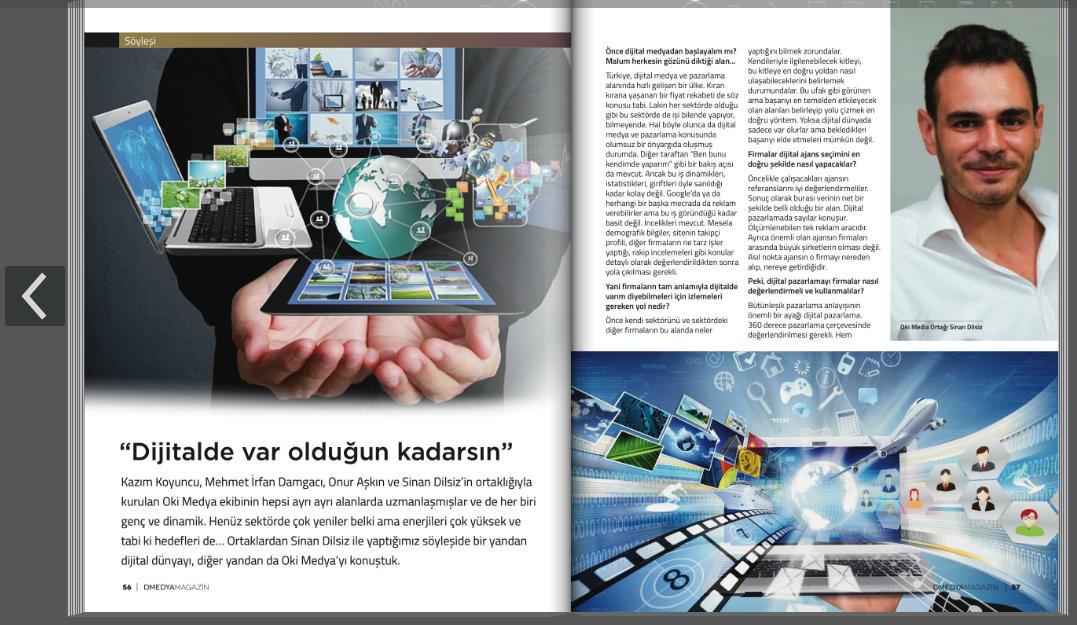 Oki Medya Dijital Pazarlama Ajansı, D-Medya Avrupa Dergisinde Çıkan Haberimiz